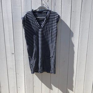 ATM  V-Neck Cap Sleeve Striped Dress
